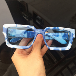 New Clouds Dreaming Square Sunglasses Men Women Winter 2020 Deep Beveled Design Oversized Shades Blue White Frames Accessories