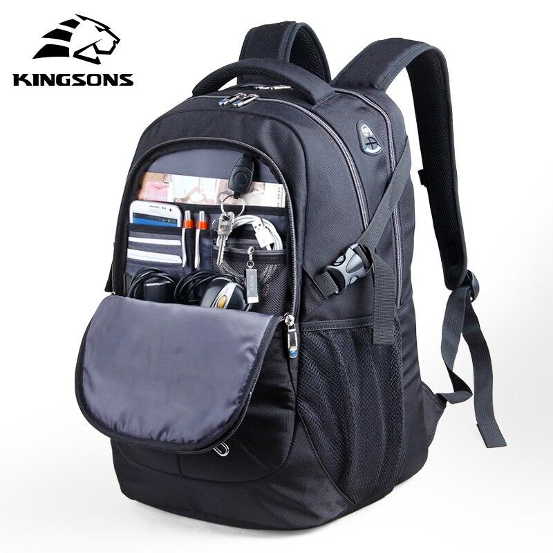 10% Off Kingsons 15.6 cal, odporna na wstrząsy mężczyźni laptopa plecaki duża pojemność odporne na zużycie szkoła torby biznes plecaki podróżne w Plecaki od Bagaże i torby na  Grupa 1
