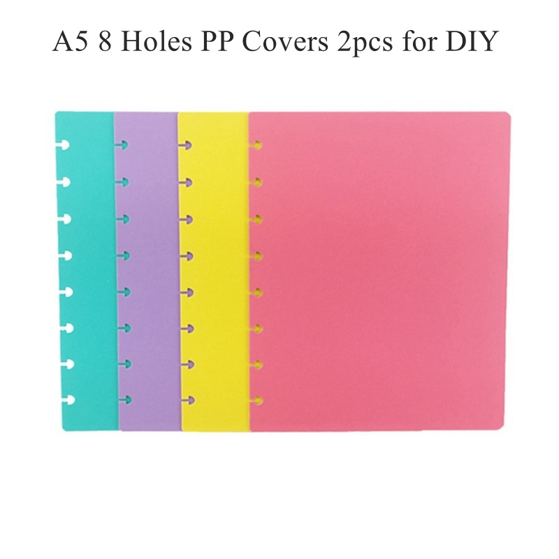 A5 8 Mushroom Holes Notebooks Cover Set 2pcs(front+back) 11 Color Options LF19-062