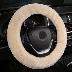 Image 2 - Otantik koyun derisi araba streç on direksiyon kılıfı/yumuşak avustralya yün araç örgü üzerinde direksiyon simidi koruyucu