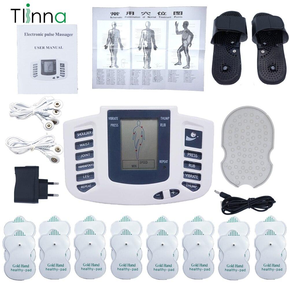 Elektryczny stymulator mięśni Pulse Tens elektroniczna akupunktura terapia ciała Relax urządzenie do masażu mięśni 16 klocki + pantofel + rękawiczki