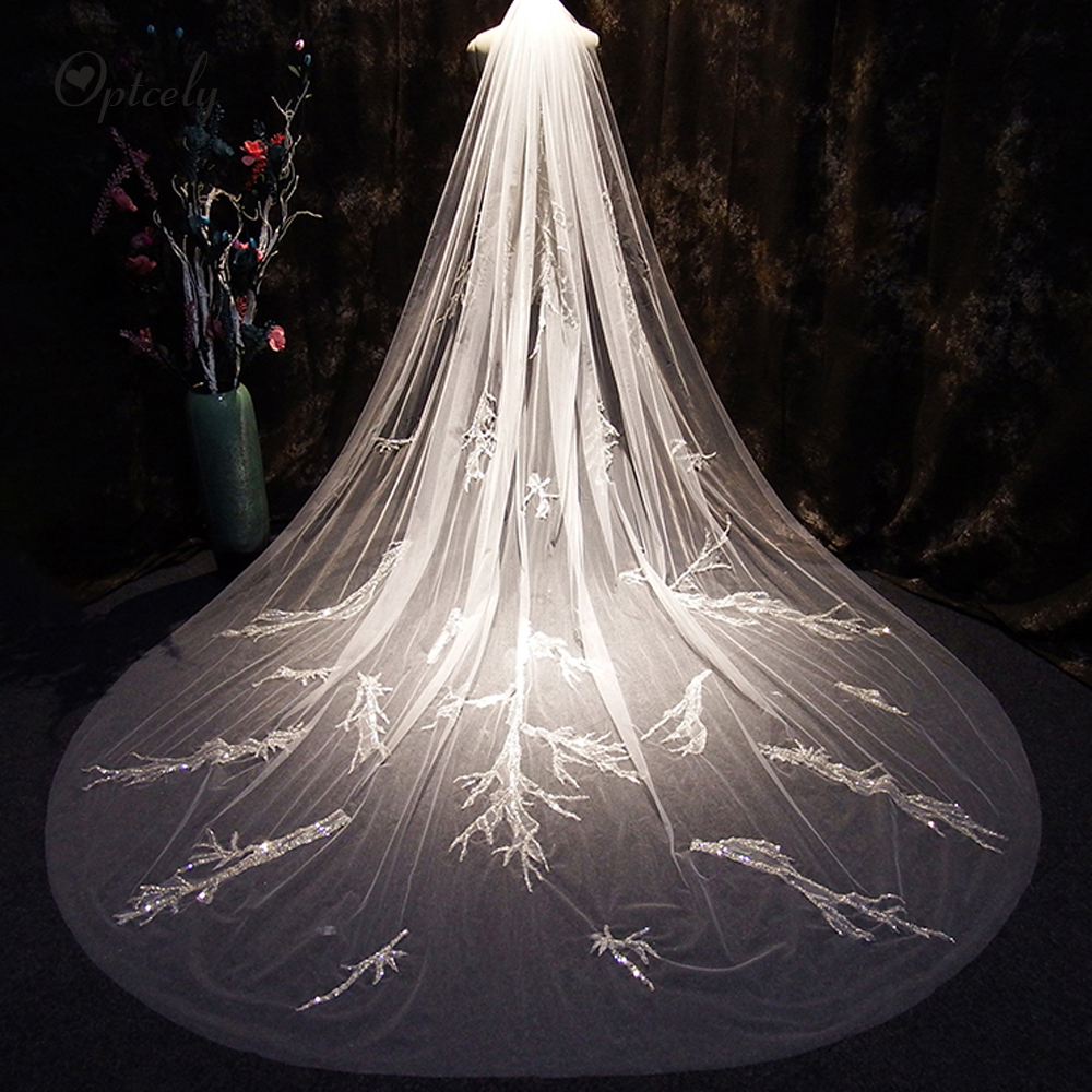 Optcely Vitality Ivory Veils Bridal Accessories 2019 Bridal Train Veil With Comb Cathedral Princess 3m Long Train Custom Size