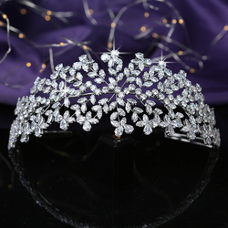 Tiaras And Crowns HADIYANA Leave Shapes Design For Women Wedding Bridal Hair Accessories Party Crown Cubic Zircon BC5461 Corona