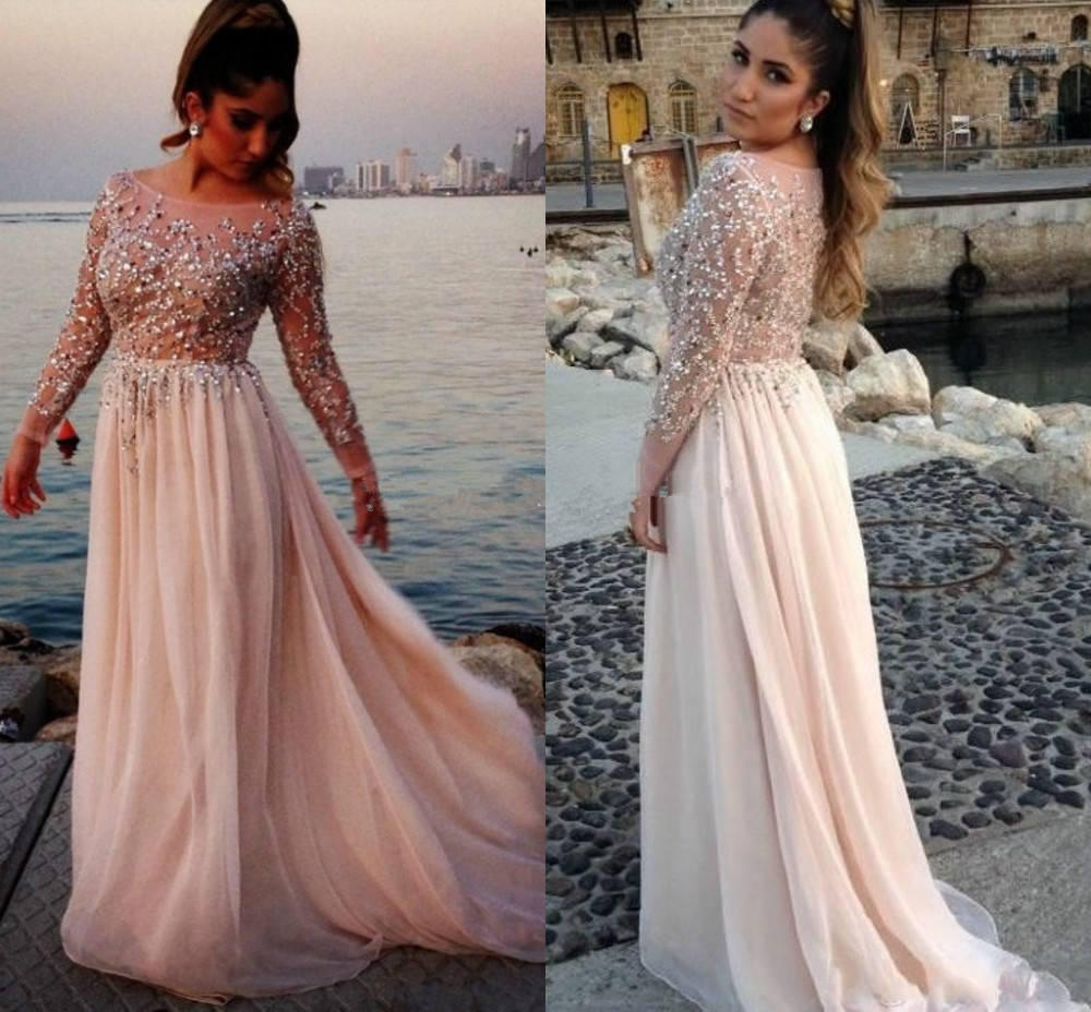 Elegant Evening Long Sleeve Prom 2018 Formal Party Gown Women Vestido Para Festa Crystals Beading Mother Of The Bride Dresses