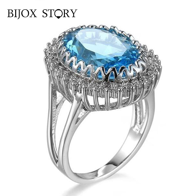 BIJOX STORY 925 Silver Ring with Oval Shpae Ruby Obsidian Sapphire Gemstone Classic Jewellery Ring for Women Wedding Party Gfit