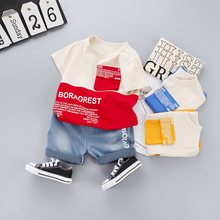 цена на 2020 Summer Children Clothing Boys letter Short sleeve T-shirt Denim Shorts Sport Suit Baby girls T Shirt Jeans Kids Clothes Set