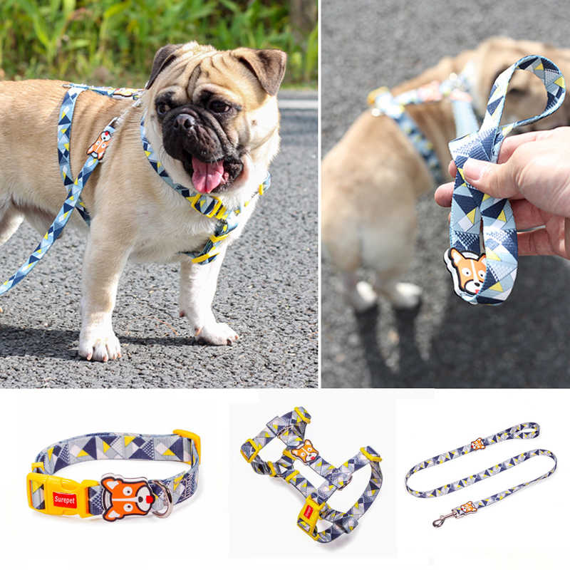 Fashion Designer Dog Collars Print Non Escape Nylon H Style Dog Harness Leash Set Walking For Small Medium Large Dog Aliexpress