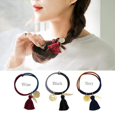 Korean hair accessories headdress Japanese and Korean version of autumn and winter new products retro color leaves tassel hair r