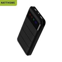 NATTHSWE 20000mAh Power Bank แบบพกพาชาร์จ USB แบบ Dual USB ภายนอกแบตเตอรี่ Charger สำหรับ Samsung iPhone Xiaomi