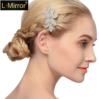 L.Mirror 1Pcs Hair Combs  Pins Rhinestones Crystals Flower   Bridal Wedding  Clip For women  girls gorgeous artificial crystals rhinestones oval necklace for women
