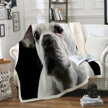 3D zwierząt pies rzut koc Bulldog Sherpa narzuta na łóżko Puppy jamnik miękkie narzuty dalmatyńczyk Pet Fluffy koc dla dzieci tanie i dobre opinie MOVE OVER Sherpa Fleece Przenośne 3D Animal Dog Wiosna jesień Klasa a PRINTED Rectangle Piknik Podróży Szpitala Domu