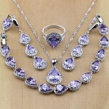 925 Sterling Silver Jewelry Purple Crystal White CZ Jewelry Sets Women Earrings/Pendant/Necklace/Rings/Bracelet