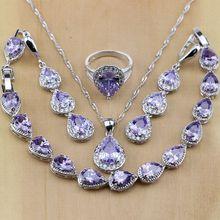 Cristal púrpura de joyería de plata de ley 925, conjuntos de joyería de CZ blanca, pendientes/colgante/Collar/anillos/pulsera para mujer