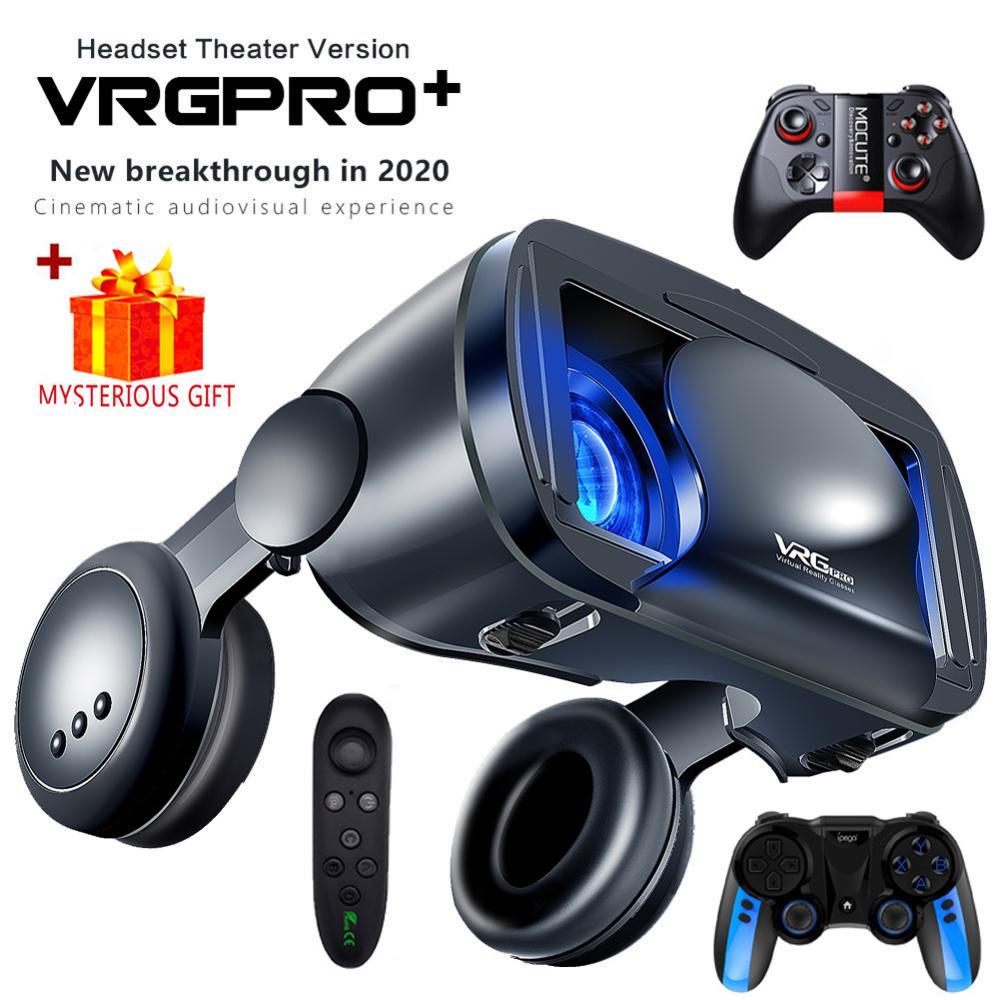 Realidade virtual 3d vr óculos fone de ouvido capacete inteligente para smartphones lentes do telefone móvel com fone de ouvido controlador viar binóculos