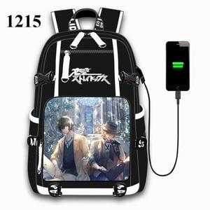 Image 5 - Anime Bungo bezpańskie psy Port USB plecak szkolny książka studenci odkryty tornister na ramię plecak Cosplay