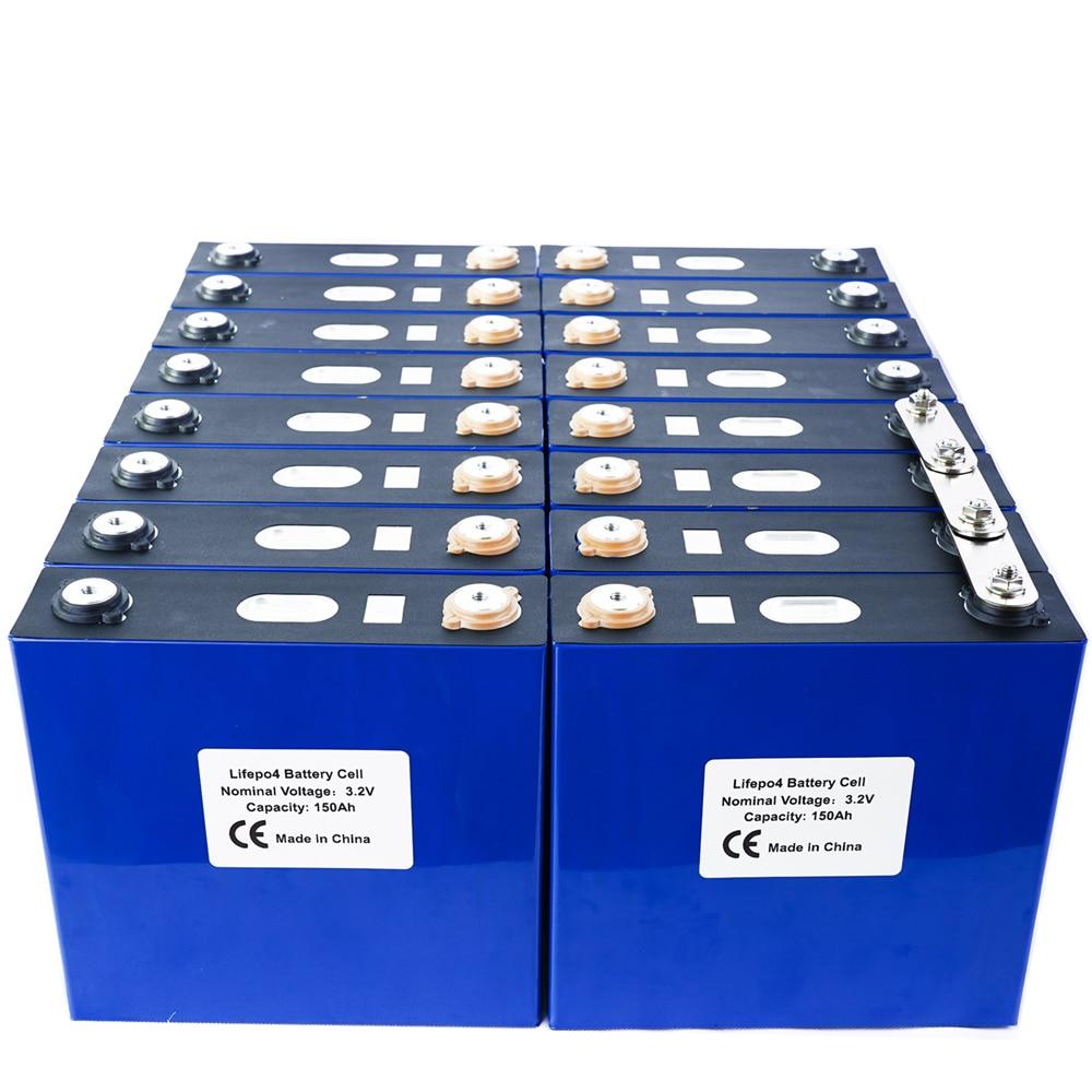 16PCS 3.2V 150Ah Lithium Iron Phosphate Cell Lifepo4 Battery  Solar 24V48V150Ah Cells Not 120Ah EU US TAX FREE Fast Shipping