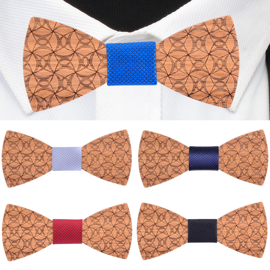 Handmade Adjustable Wooden Bow Tie Fashion Carved Floral Wood Bowtie For Men Wedding Party  Gravatas Cravat Accessories Neckties