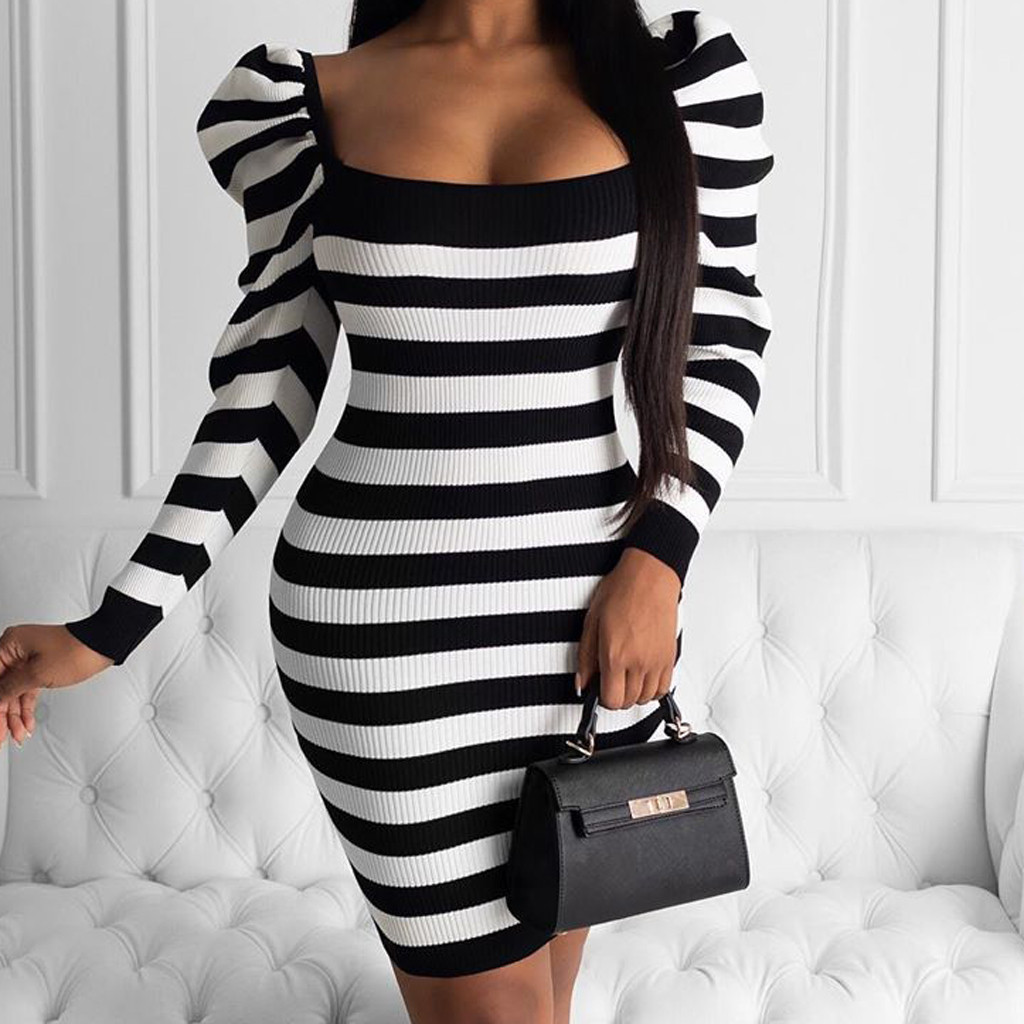 Dress women Fashion dress Square Collar Stripe Print Long Sleeve Slim Knee-length Bodycon dress Vestidos verano 2020 mujer S10