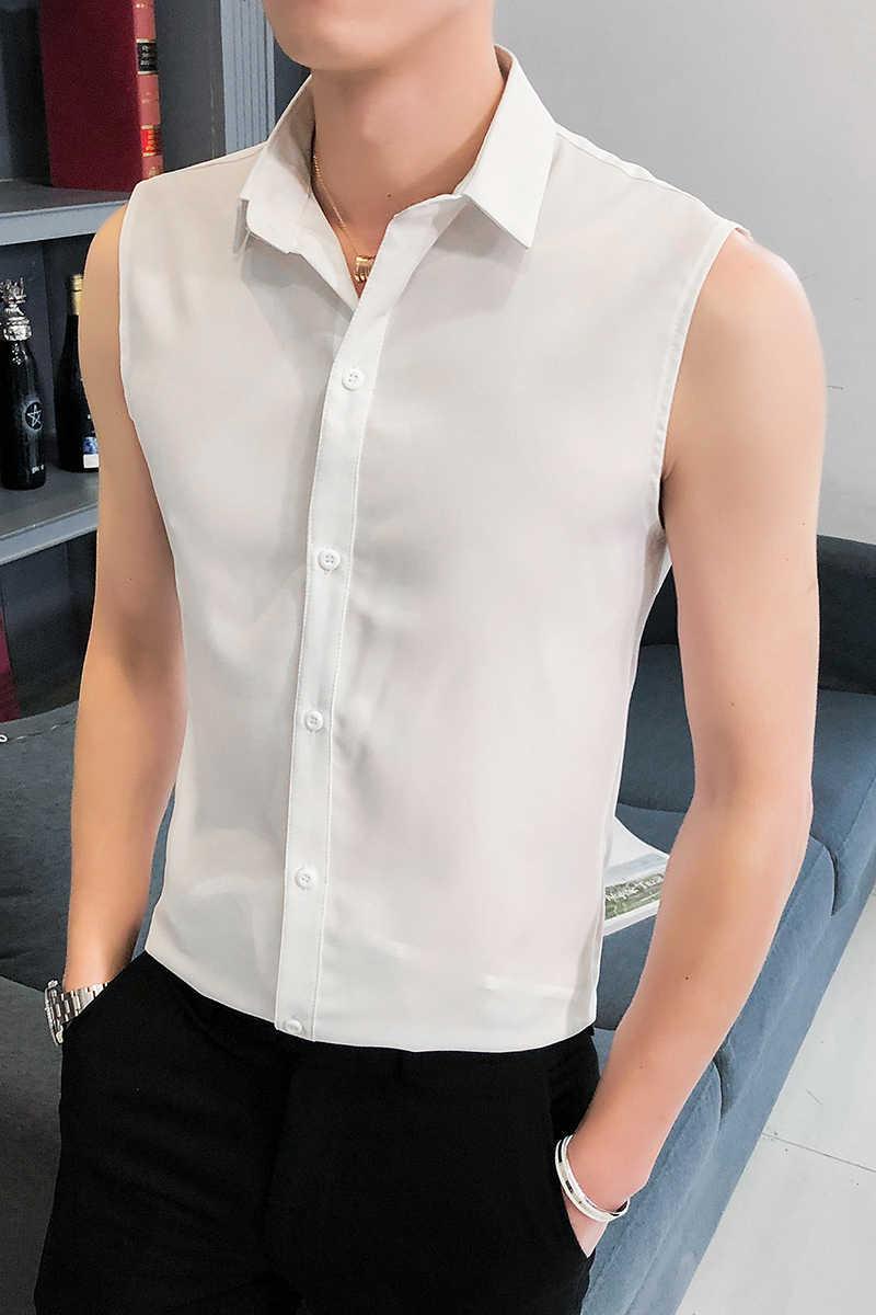 Été sans manches chemise hommes mode 2020 Slim Fit hommes chemises décontractées confortable tout Match mince hommes chemise robe