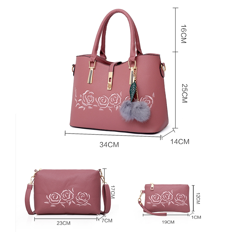 3pcs Leather Bags Handbags Women Famous Shoulder Bag Female Casual Tote Women Messenger Bag Set in Top Handle Bags from Luggage Bags