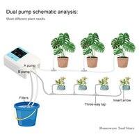 Dupla bomba de água energia solar sistema irrigação por gotejamento inteligente automático planta rega dispositivo temporizador rega auto kit