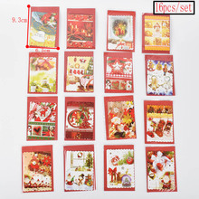 16pcs/set XMS Card 9.3*6.5CM Santa Claus Greeting Cards Christmas Postcard New Year Blessing Card For Christmas Day