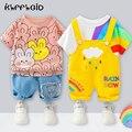 Летняя одежда для маленьких мальчиков и девочек, Модный хлопковый спортивный костюм для младенцев, футболка с мультяшным принтом + шорты, де...