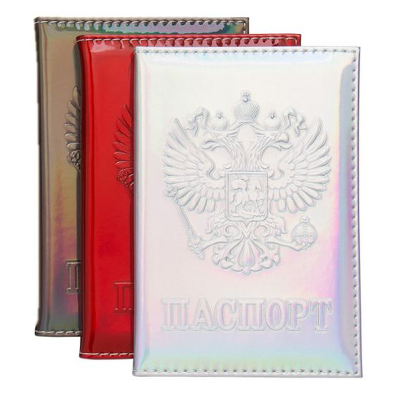 Fashion Laser Russia Passport Covers Holder Women Men PU Leather ID Bank Card Travel Accessories RFID Business Wallet Case