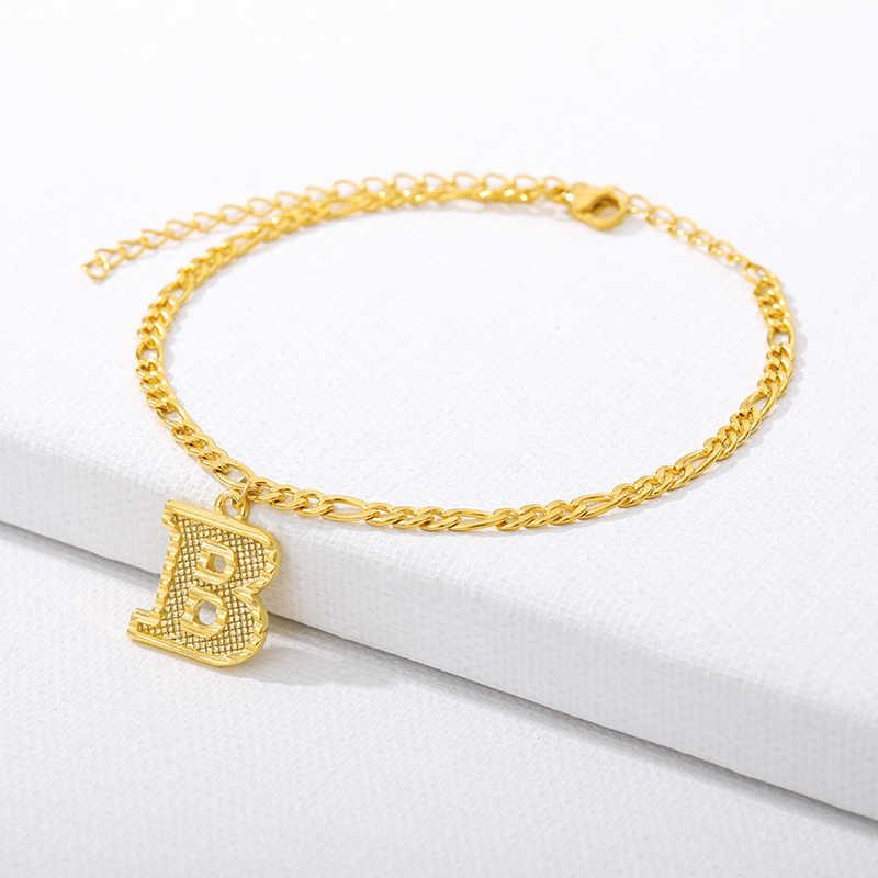 Pequena tornozeleira inicial feminino menina alfabeto jóias opcional A-Z carta tornozelo pulseira de aço inoxidável perna pé corrente dropshipping
