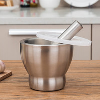 Kitchen Food Tools stainless steel Manual Garlic Spice Tamping Rammer Mortar pestle Mill Grinder Crushing Bowl with cover