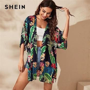 SHEIN Multicolor estampado Tropical mangas de murciélago abertura lateral Kimono mujeres media manga Top verano señora Boho Kimonos largos