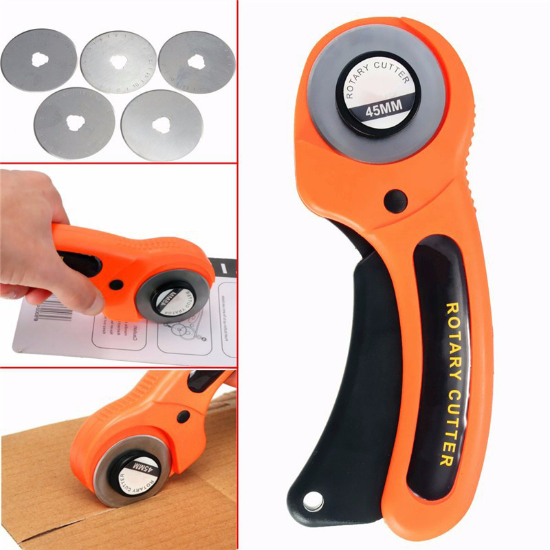 45mm Rotary Cutter Set Blades For Fabric Paper Vinyl Circular Cut Cutting Disc Patchwork Leather Craft Sewing Tool