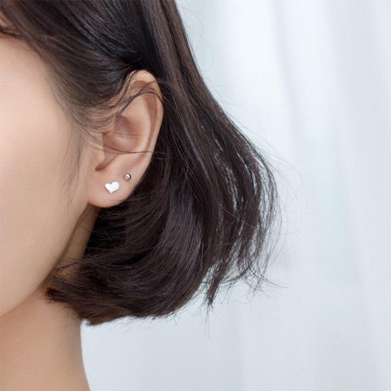 Trust davis Real 925 en argent Sterling coeur vis boucles d'oreilles pour femmes enfants bébé filles enfants Mini minimaliste bijoux DA1979 4