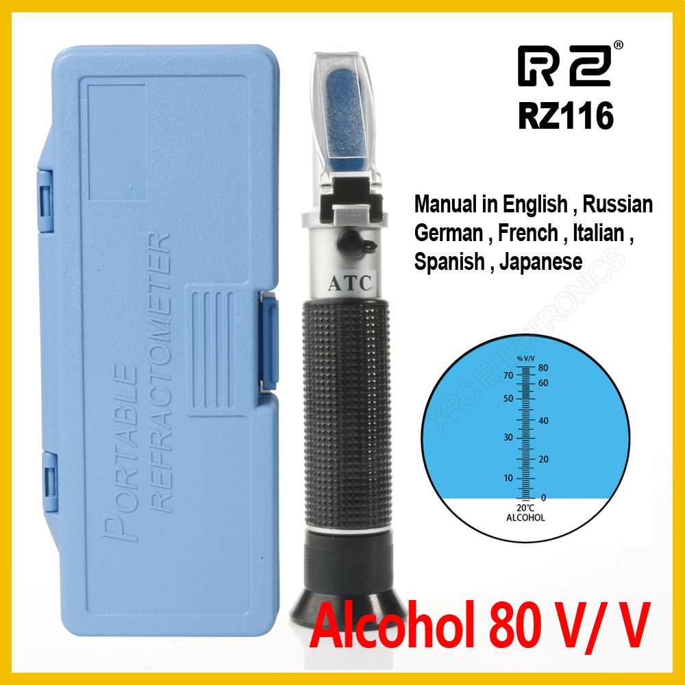 RZ Alcohol Refractometer Alcoholometer Spirit Tester 0~80%V/V ATC Tool  RZ116 Concentration Spirits Meter Alcohol Refractometer