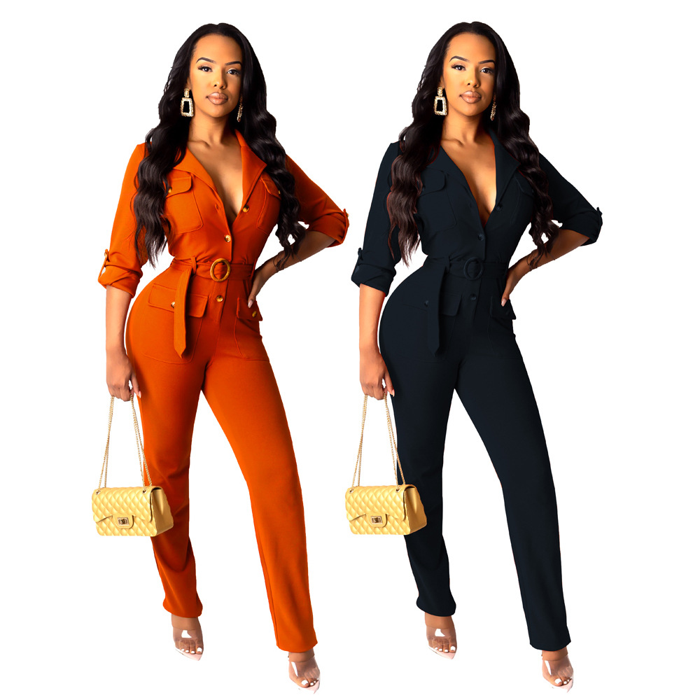 Elegant Long Womens Overalls Casual Long Sleeve Jumpsuit Rompers Autumn Solid Belt Slim Long Pants Trousers Streetwear
