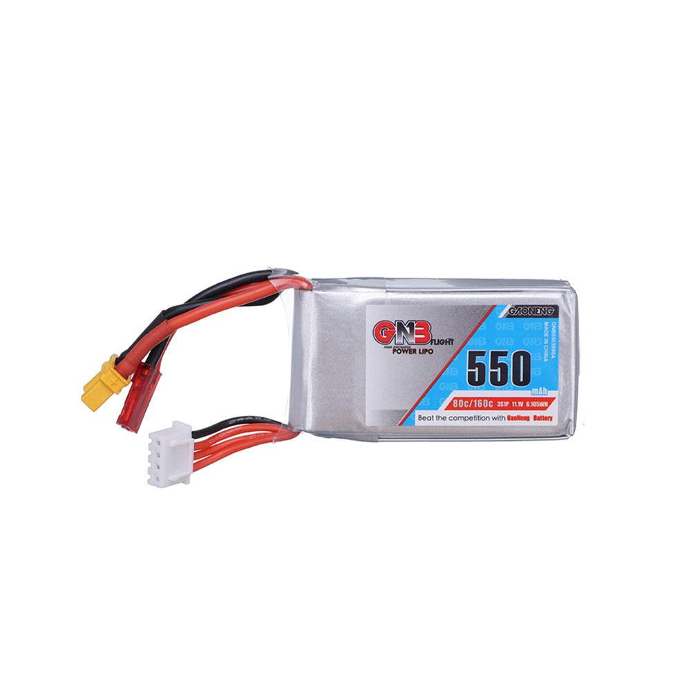 Gaoneng GNB 11.1V <font><b>550mAh</b></font> 80C Lipo Battery for RC Ca Lizard95 FPV Racer Quadcopter Racing Drone <font><b>3s</b></font> 11.1v Battery XT30 JST Plug image