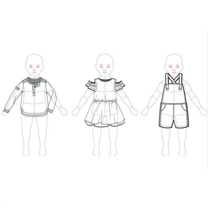 Children Fashion Design Ruler Child Drawing Template Baby Cloth Template For Kids Aliexpress