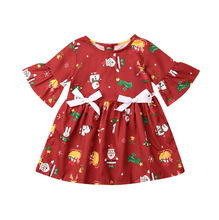 Baby Girl Clothes 2019 Christmas Kids Baby Girl Flare Sleeve Santa Clause Bowknot Dress Princess Girls Christmas Party Dress thick warm wniter girl dress christmas wedding party princess dresses pearls flare sleeve kids girls clothes pink 4 11t