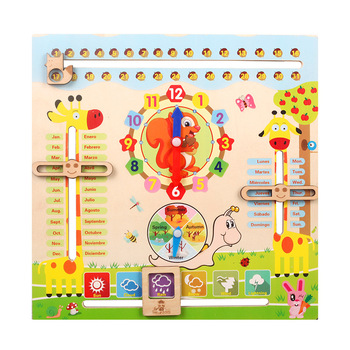 Wooden Montessori Toys Kids Cognitive Calendar Weather Time Season Early Learning Clock Preschool Educational  Teaching Aids flyingtown montessori teaching aids balance scale baby balance game early education wooden puzzle children toys