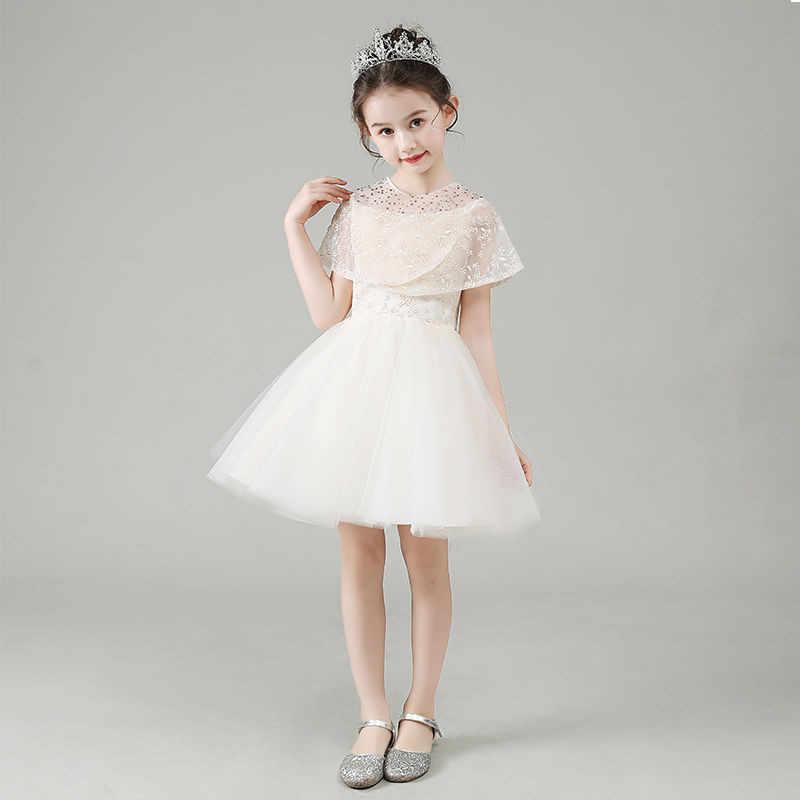 2019 เด็กผู้หญิงดอกไม้ลูกไม้คริสตัล Ball Gowns ชุดแต่งงาน Tulle สวยงาม First Communion ชุดที่กำหนดเอง L38