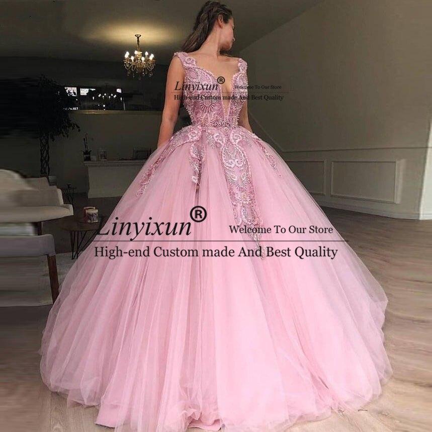 2019 dernière robe de bal en Tulle rose robes de bal perles lourdes Photos de fiançailles tapis rouge robe de soirée formelle robes de charme