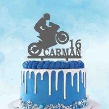 Человек Мотокросс силуэт под заказ Название возраст мотоцикл гоночный торт Топпер для любителей мотокросса День рождения украшение торта