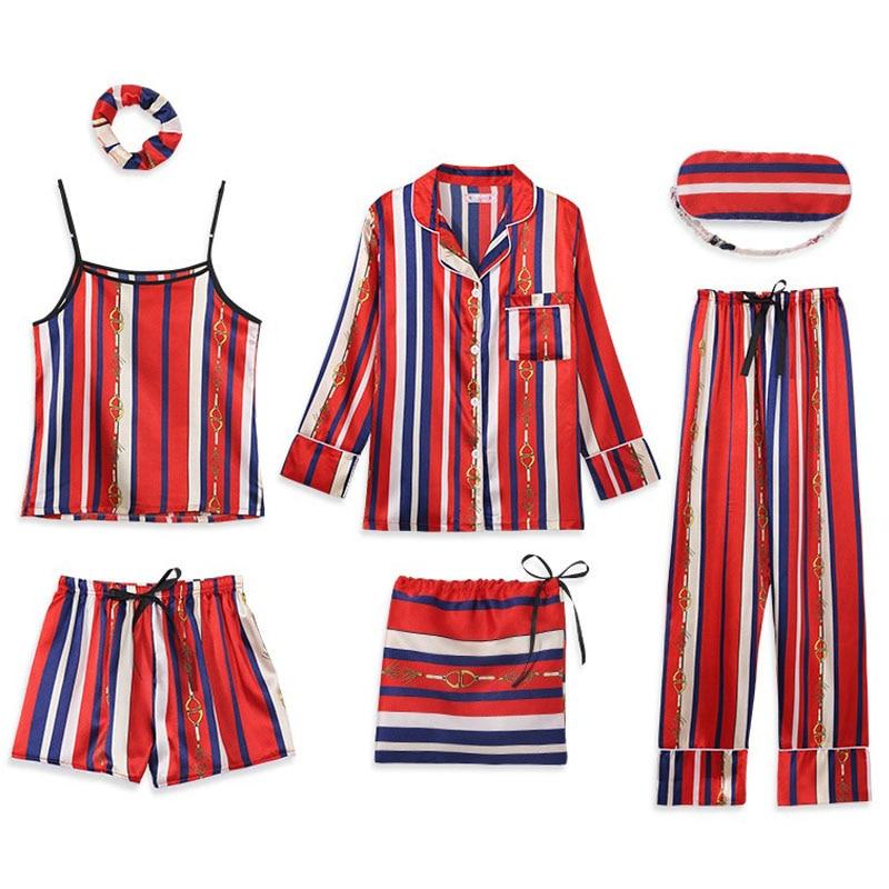 Summer Women Satin Pajama Set Long Sleeve V-neck Pyjama Set Pink Satin Pants Shorts Tank Top Sleepwear Woman Home Suit