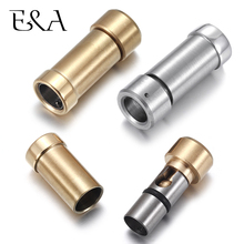 Stainless Steel Bayonet Clasp Hole 6mm Leather Cord Bracelet Clasps Pushlock Buckle DIY Necklace Jewelry Making Parts Supplies stainless steel magnetic clasps hole 12 6mm for leather cord bracelet magnet clasp buckle diy jewelry making supplies accessory