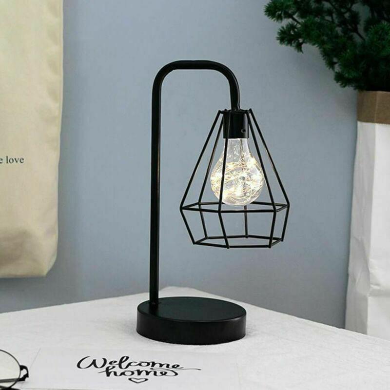 LED Tafel Lampen Retro Zwarte Geometrische Draad Industriële Led Lamp Tafellampen Bed Side Batterij Tafellamp