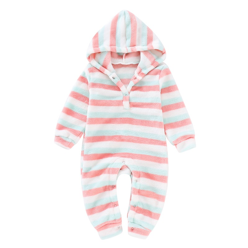 0-18M Baby Boys Girls Long Rompers Winter Warm Leeve Striped Print Hoodie Plush Baby Outfits