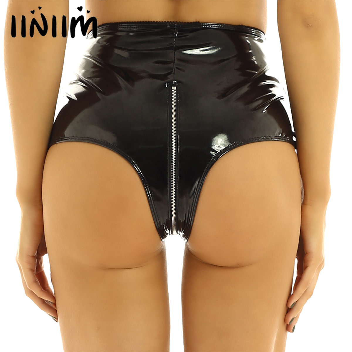 Womens Wetlook Summer Sexy Pole Dance Leather High-Waisted Front Zip Up Booty Shorts Hot Pants For Night Cocktail Party Clubwear