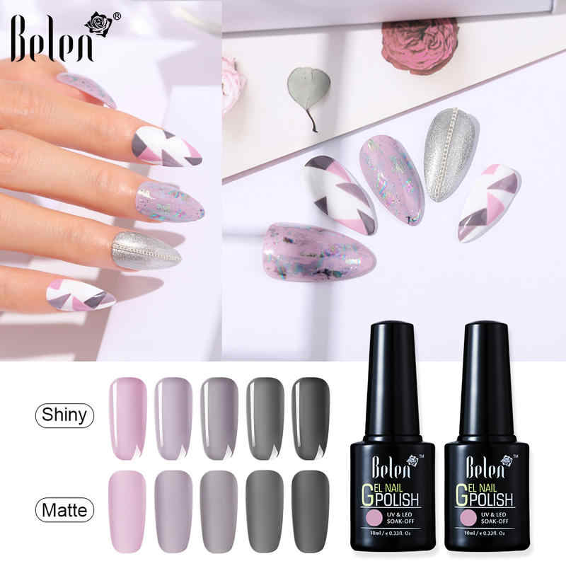 Belen Ungu Imajinasi Warna Gel Nail Polish Rendam Off Uv Gel Varnish Kuku Gellak Semi Permanen Hybrid Kuku Seni Polandia 10 Ml