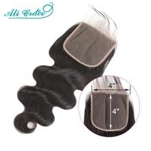 Ali Gnade 4x4 Spitze Verschluss Brasilianische Körper Welle Menschliches Haar Verschluss mit Baby Haar Natürliche Farbe Remy Brasilianische spitze Verschluss 6x6