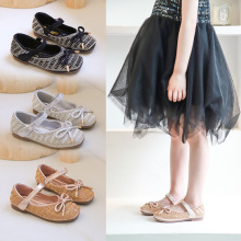 Girl Princess Shoes Spring Autumn New Girls Butterfly Knot Leather  Crytal Single party Sandals